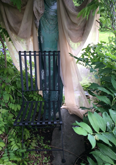 gardens, Central New York, Melissa Sarat paintings, Melissa Sarat gardens, summer, perennial garden, solomon's seal, wrought iron chair, garden chair, garden curtain, artist garden Melissa Sarat