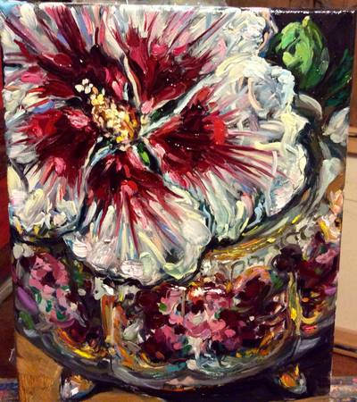 Melissa Sarat paintings, irises, gardens, flowers, floral paintings, nature, perennials, summer, garden, rose of sharon, hibiscus